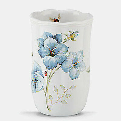 Lenox Blue Floral Garden Butterfly Bee Ceramic Tumbler Cup