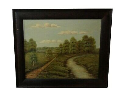 Lovely Original Old Vintage Landscape Oil Painting By A. Bethke Of Park / Trees