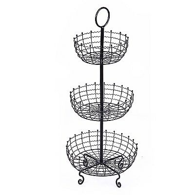 Adeco 3 Tier Iron Table Counter Top Fruit and Vegetable Basket
