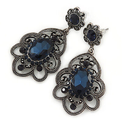 Victorian Style Filigree Montana Blue Glass, Crystal Drop Earrings In Antique Si
