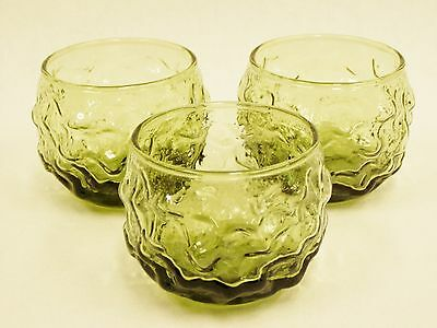 Anchor Hocking Roly Poly Tumblers Milano Lido, Lot of 3 Avocado 4 ounce USA