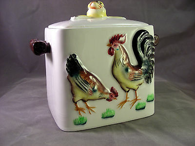 Cookie Jar Rooster Chicken Poultry 3 Dimensional Design Ceramic Mid-Century Mod