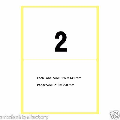 White Glossy A4 Self Adhesive Sticker Paper Sheet Blank - 2 Labels per sheet