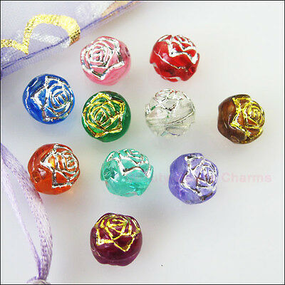 80Pcs Mixed Acrylic Plastic Round Ball Rose Flower Spacer Beads Charms DIY 6mm