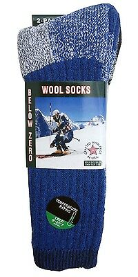 2,4 Pairs Wool Thermal Men Socks Fits 10-13 Winter Outdoor Socks Made in USA