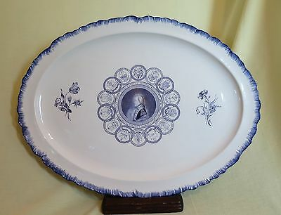 "Mottahedeh Blue and White George Washington U.S.A. State Seals 17"" Platter"