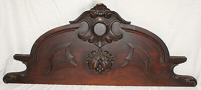 Walnut Carved Wood Crest Pediment Architectural Antique 1880's