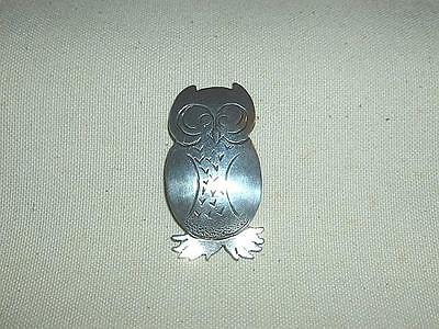 Vintage Hand Wrought Sterling Silver Owl Pin-BL