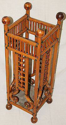 Oak Stick & Ball Antique Umbrella Stand Holder, Oak Wood, c.1870's