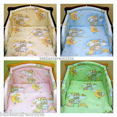 Lovely 6 pcs BABY BEDDING SET/BUMPER/PILLOW/ DUVET/CASES to  fit cot or cot bed