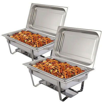 2 Pack Of 9 L Rectangular Chafing Dish Sets Stainless Steel Food Pans Fuel