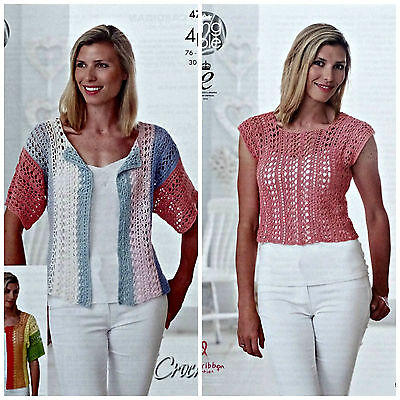 CROCHET PATTERN Ladies Lacy Cardigan & Lacy Top Giza Cotton 4ply KingCole 4710