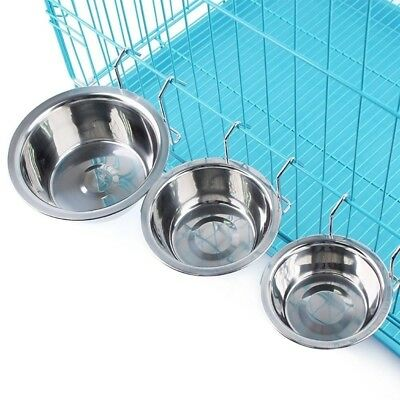 Pet Stainless Steel Cage Coop Bird Cat Dog Food Water Bowl  S