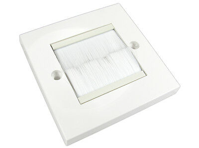 WHITE with WHITE BRUSH outlet for Cable Exit/entry faceplate UK Single Gang Tidy