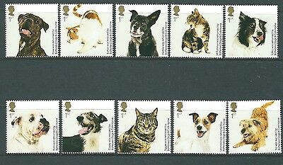Great Britain 2010 Cats And Dogs  Set Of 10 Singles Unmounted Mint, Mnh