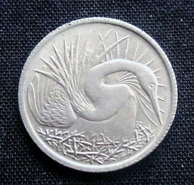 5 Cents Singapore 1967 Oriental Darter Bird #2831