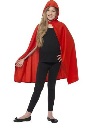 Childrens Red Hooded Cape Super Hero Fancy Dress Accessory