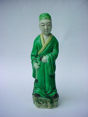 Beautiful Chinese Porcelain Figure of a Man in Green robes