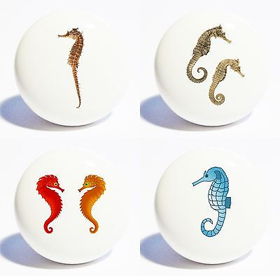 Four Colorful Sea Horses Home Decor Ceramic Kitchen  Knobs Drawer Cabinet Pulls