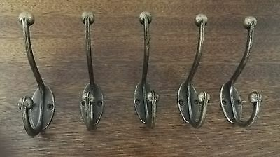 5 x Classic Antique Industrial Style Double Coat Hook Vintage Cast Iron Hanger