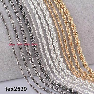 """Rope 18K Gold, Sliver, or Black plated Chain Necklace 20 & 24"""" 3,4,mm LIFE Warra"""