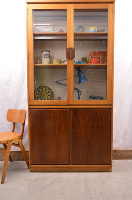 Vintage Industrial Glazed Wooden School Cabinet Cupboard Kitchen Larder Dresser