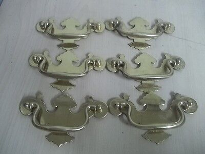Vintage Lot Of 6 Brass Drawer Pull Estate Find