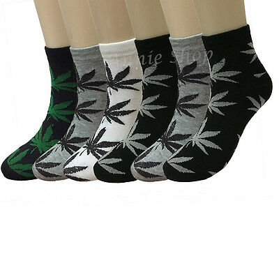 6 12 Pairs Mens Fashion Casual Marijuana Weed Leaf Ankle Socks Size 9-11 10-13