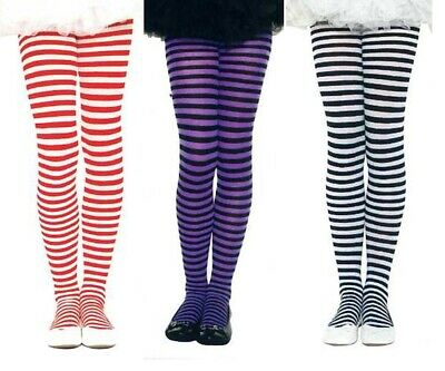 Music Legs 270 Girls Striped Tights Size S M L XL Black & Purple 2 Pair Discount