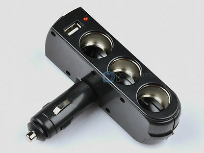 New Plug In Car 3 Port in 1 Multiplier With USB Charger Cigarette Lighter
