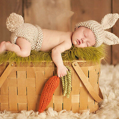 Cute Newborn Baby Boys Girls Crochet Knit Costume Prop Outfits Photo Photography