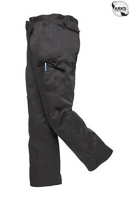 PORTWEST Combat Trousers - Black - 46in. Waist (Regular) - C701BKR46