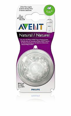 Philips AVENT 2-PACK Natural SLOW FLOW NIPPLES - 1m+ - BPA Free - New!!