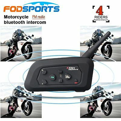 V4-1200M Bluetooth Interphone BT Bike Motorcycle Helmet Intercom Headset FM