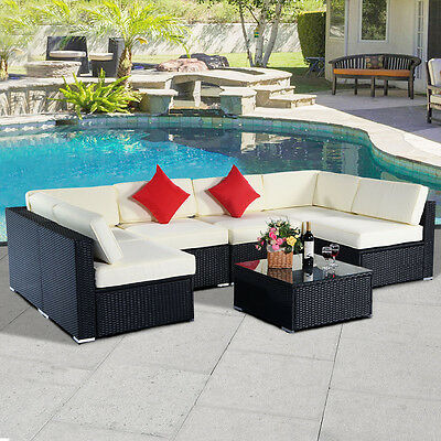 7PC Patio Rattan Sofa Set Couch Outdoor Furniture Sectional PE Wicker Black