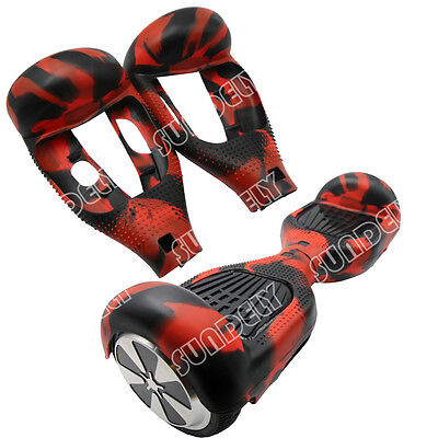 """Silicone Silikon Cover For 6.5"""" Hoverboard Balance Scooter 2 Wheels Red/Black"""