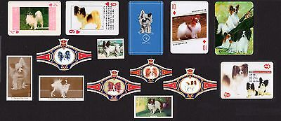 15 Papillon Collectable Dog Cigarette Trade / Breed Cards Stamps And Bands