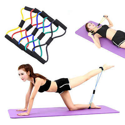 Resistance Training Bands Rope Tube Workout Stretch Exercise For Yoga 8 Type New
