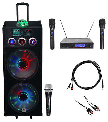 "NYC Acoustics Dual 15"" Bluetooth Karaoke System 4 ipad/iphone/Android/Laptop/TV"