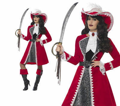 Deluxe Authentic Lady Captain Costume Ladies Pirate Fancy Dress Outfit