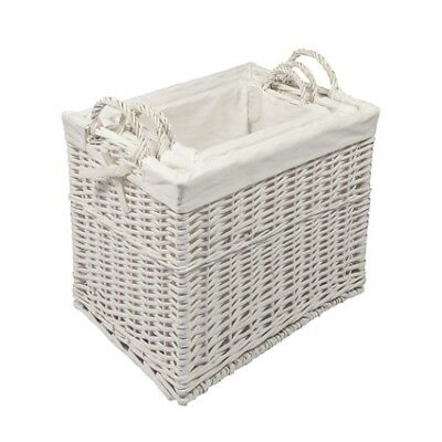 Woodluv Wicker Storage Clothes Toys Hamper Basket With White lining - In 3 Sizes