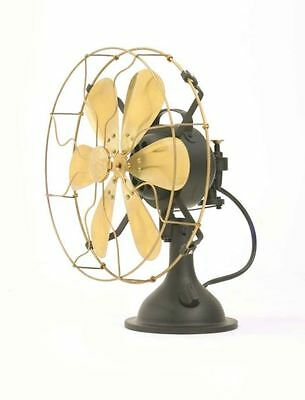 """14"""" Blades Electric Table Fan Oscillating Work Vintage Metal Brass Antique style"""