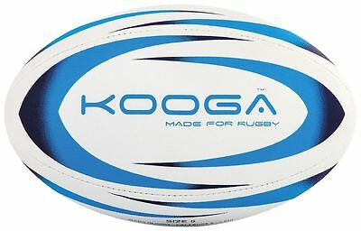 Kooga Durban Rugby Ball 4 Panel Stitched Textured Surface - White/Blue Size 5