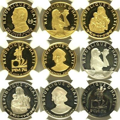 Haiti 1973 Set 9 Gold Silver Coins Gourdes Proof Very Rare Low Mint. NGC PF65-68