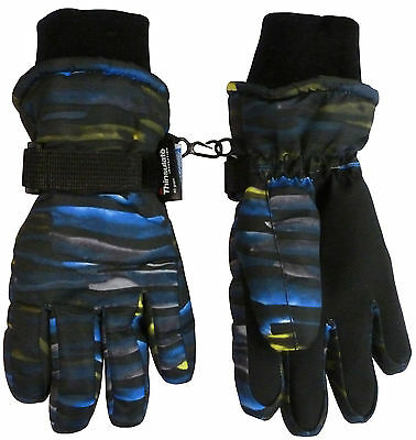 NICE CAPS Kids Boys Girls Striped Waterproof Thinsulate Ski Snow Winter Gloves
