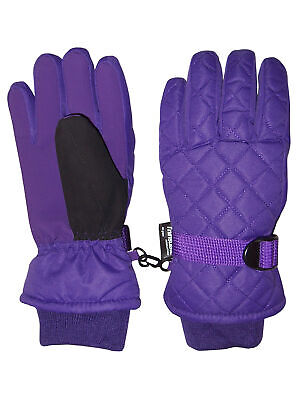 NICE CAPS Kids Boys Girls Quilted Snow Ski Waterproof Thinsulate Winter Gloves