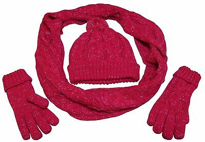 NICE CAPS Womens Fleece Lined Cable Knit Metallic Specks Hat/Scarf/Glove Set