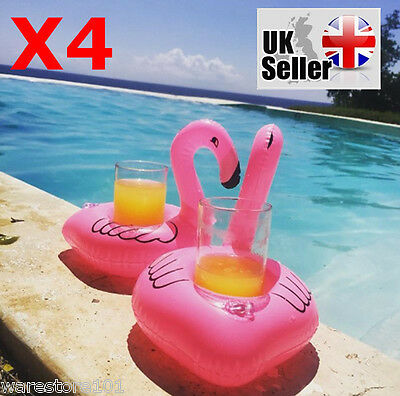 4x Inflatable Pink Flamingo Floating Drink Can Holder Bath Party Pool Hot Tub UK