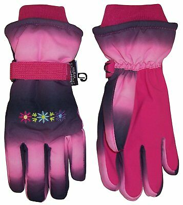 NICE CAPS Girls Childrens Thinsulate Waterproof Floral Ski Winter Snow Gloves