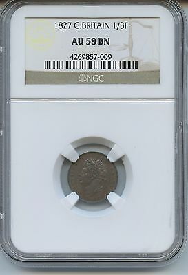 1827 1/3F Great Britain AU-58BN NGC